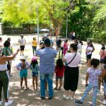 Compartilhamento de relatos e apresentação do Projeto Parque Capibaribe, no Jardim do Baobá. Foto: Giselle Cahú