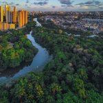 Foto aérea do Rio Capibaribe. Foto: Gadelharia Indústria Criativa